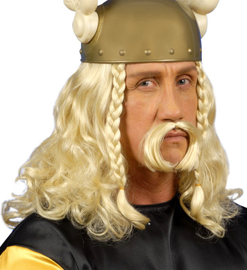 GAULOIS WIG WITH MOUSTACHE BLONDE