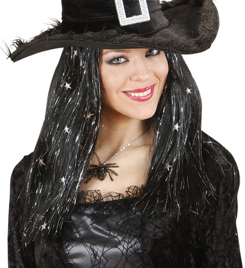 WITCH WIG W/ SILVER TINSEL & STARS BOXED