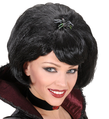 BLACK WIDOW WIG W/SPIDER