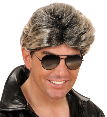 80s POP STAR BOY WIG - BLACK W/BLONDE