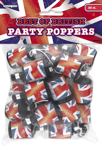 PARTY POPPERS UNION JACK PKT 20