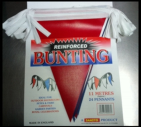 BUNTING RED/WHT/BLUE 11MTR HEAVY PLASTIC