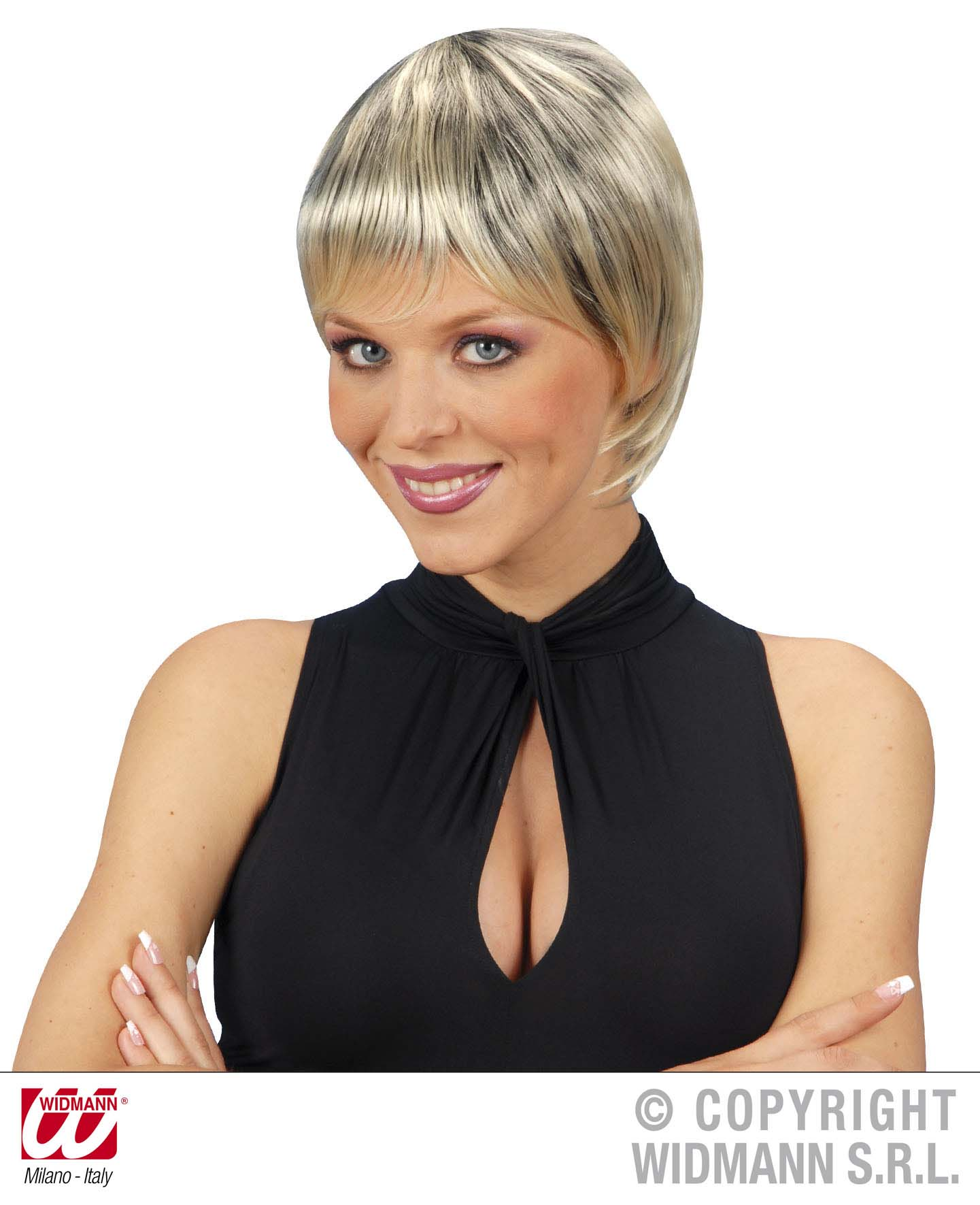 Paris Wig - Blonde/Black Fancy Dress