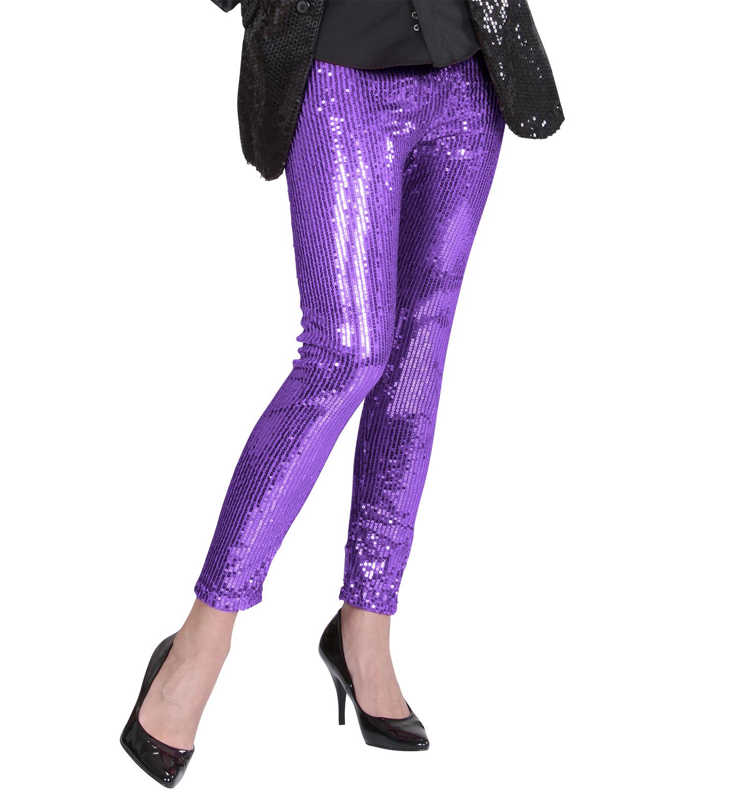 Purple Sequin Leggings Stockings Tights Pantyhose Lingerie Fancy Dress