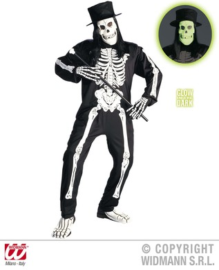 CHIC SKELETON COSTUME M (jumpsuit gloves mask hat hair)