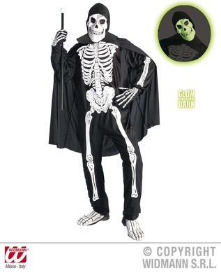 OPERA SKELETON COSTUME (jumpsuit gloves cape mask)