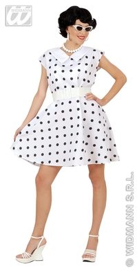 50s LADY DRESS & BELT M - WHITE