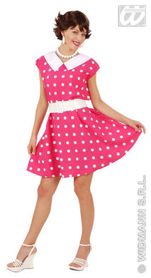 50s LADY DRESS & BELT M - Pink