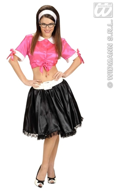 50s TWIST GIRL COSTUME (pink tie-top, black skirt)