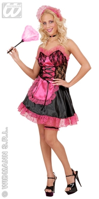 FRENCH MAID SATIN/LACE PINK/BLK(dress hat garter choker)