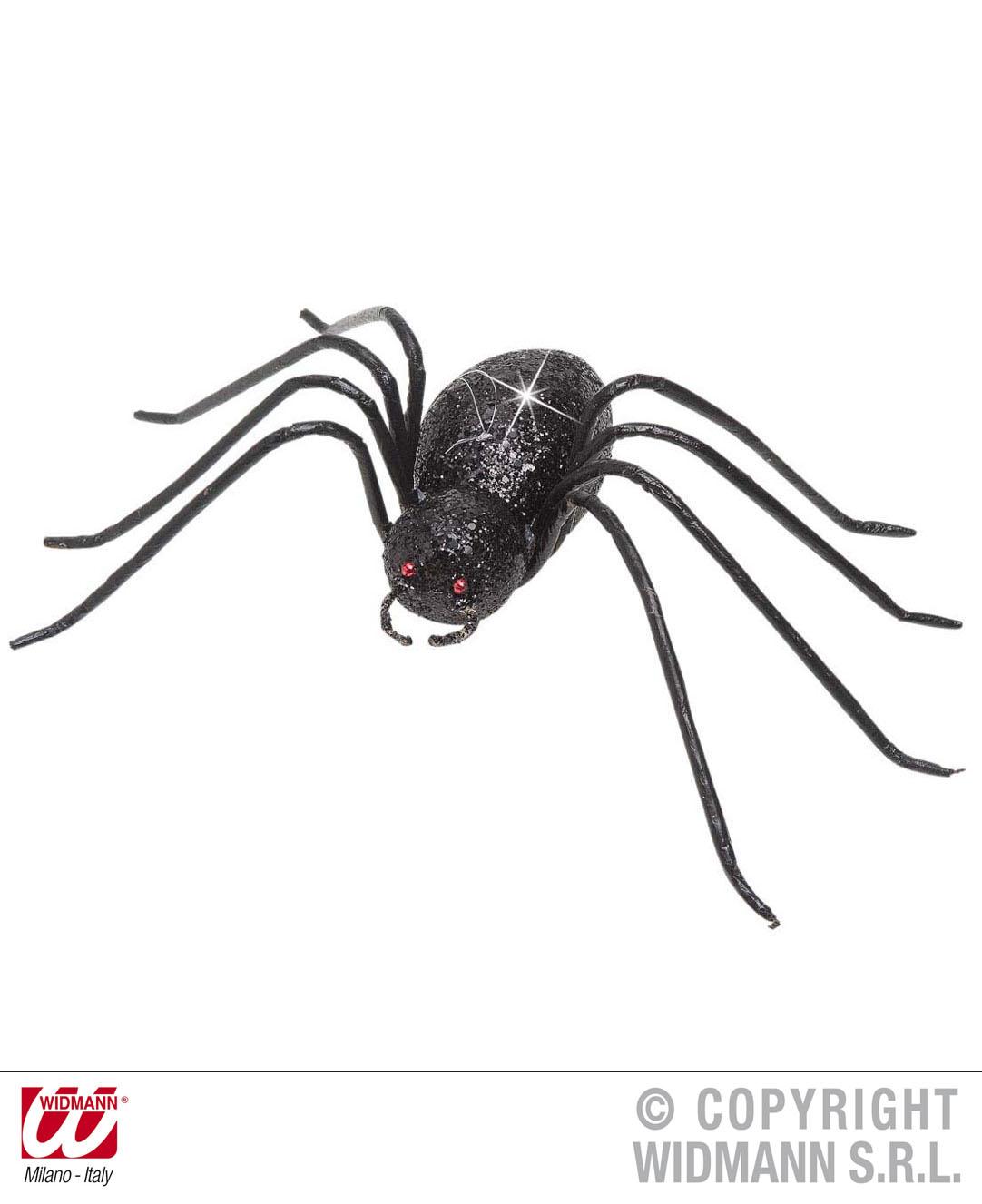 Black Glitter Spiders 15cm Halloween Decoration