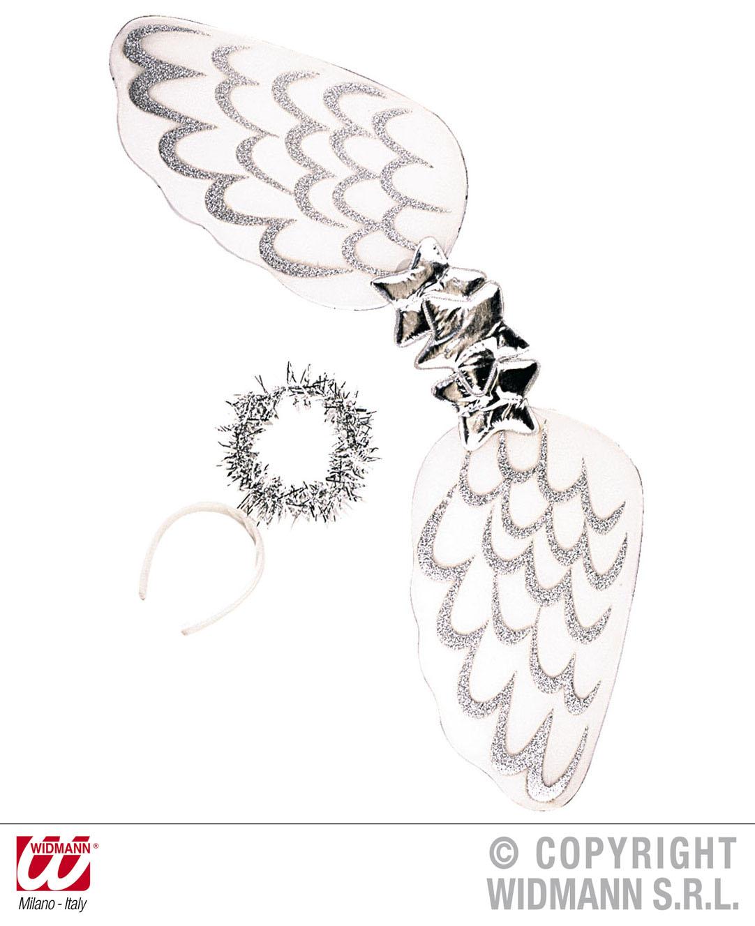 Angel Dress-up Set - White/Silver Christmas Fancy Dress Accessory