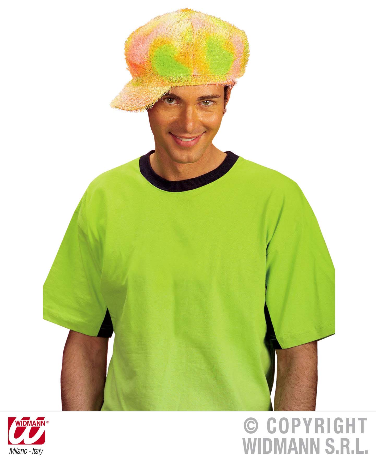 Neon Fashion Hat - Yellowith Pink Fancy Dress