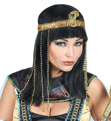 EGYPTIAN EMPRESS WIG w/BEADED SNAKE HEADBAND