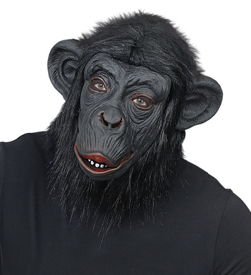 CHIMPANZEE MASK w/PLUSH FUR - BLACK