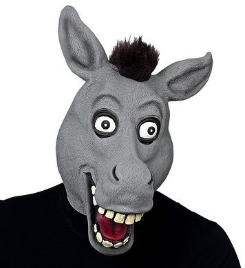 BIG EYES DONKEY FULL HEAD MASK WITH PLUSH HAIR