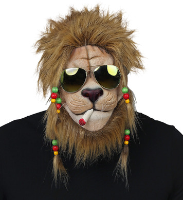 RASTA LION HALF-FACE MASK , BEADED PLAITS & S/GLASSES