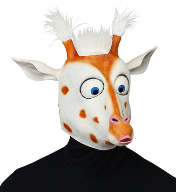 BIG EYES GIRAFFE FULL HEAD MASK WITH PLUSH HAIR