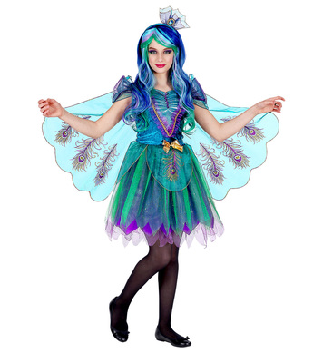 PEACOCK (dress w/ peacock tail veils, headpiece) Childrens
