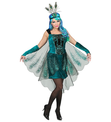 PEACOCK (dress w/peacock tail veil,arm warmers, h/piece)