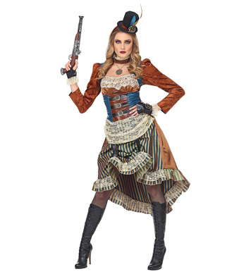 STEAMPUNK (dress w/choker,fingerless gloves,mini tophat)(XL)