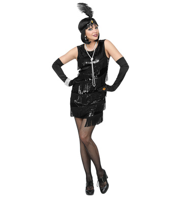 ROARING 20s FLAPPER - BLACK (dress, headband w/feather)