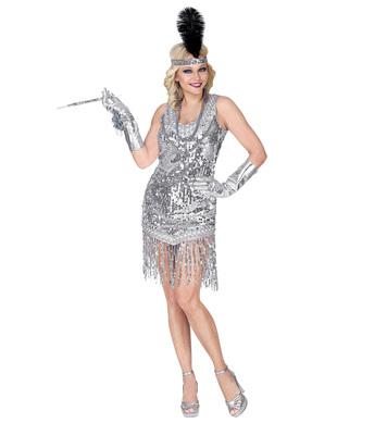 ROARING 20s FLAPPER - SILVER (dress, headband)