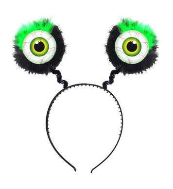 FEATHERED GREEN EYES HEADBOPPER - GREEN