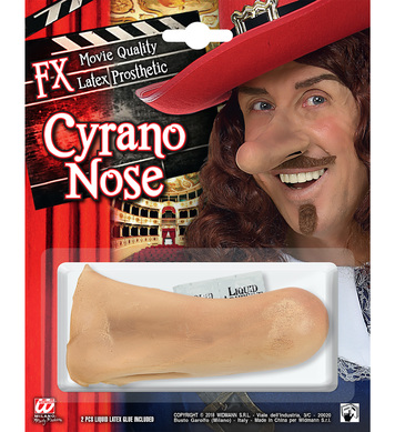 FX LATEX PROSTHETIC CYRANO NOSE (w/ 2 pcs liquid latex glue)