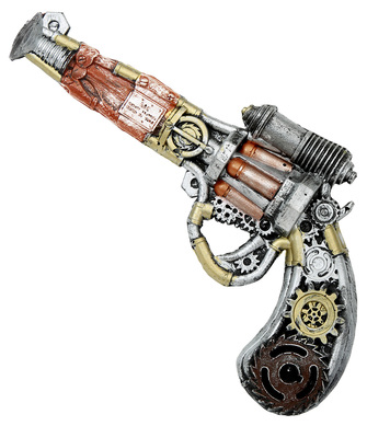 STEAMPUNK FOAM LATEX REVOLVER GUN 32cm
