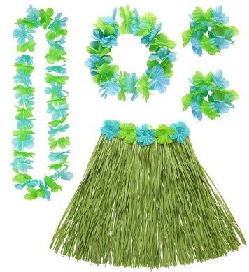HAWAIIAN SET - GREEN (skirt lei crown 2 bracelets)