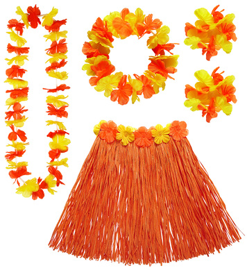 HAWAIIAN SET - ORANGE (skirt lei crown 2 bracelets)