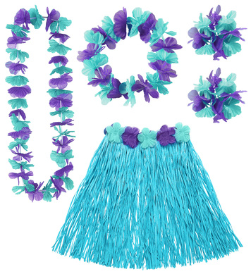 HAWAIIAN SET - BLUE (skirt lei crown 2 bracelets)