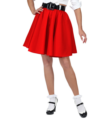 50s ROCK N ROLL SKIRT - RED