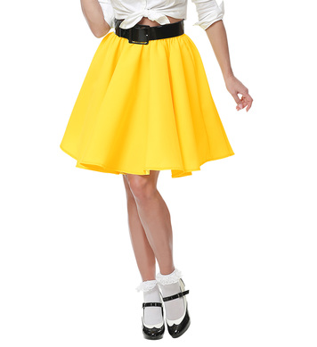 50s ROCK N ROLL SKIRT - YELLOW