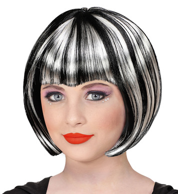 BLACK AND WHITE HALLOWEEN WIG - CHILD (in polybag)
