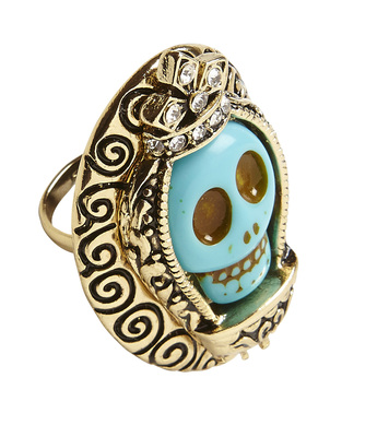 AZURE SKULL GOLD RING WITH STRASS