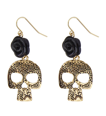 BLACK ROSE & GOLD SKULL EARRINGS
