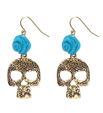 AZURE ROSE & GOLD SKULL EARRINGS