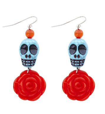 AZURE SKULL & RED ROSE EARRINGS