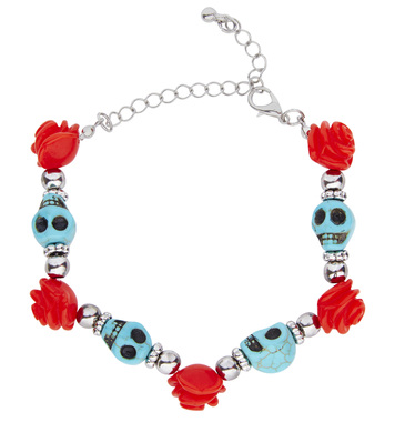 AZURE SKULLS & RED ROSES BEADED BRACELET