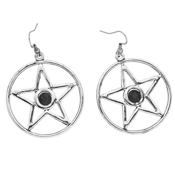 SATANIC EARRINGS WITH BLACK GEM