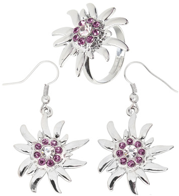 EDELWEISS EARRINGS & RING WITH CLEAR & PINK STRASS