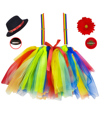 CLOWN (tutu, braces w/ flower, mini top hat) Childrens