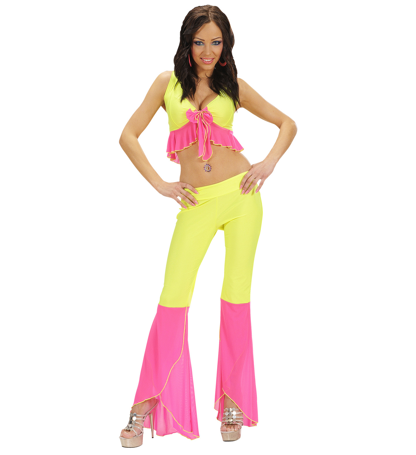 Mens Samba Top & Pants Neon Yellow & Pink Costume Fancy Dress