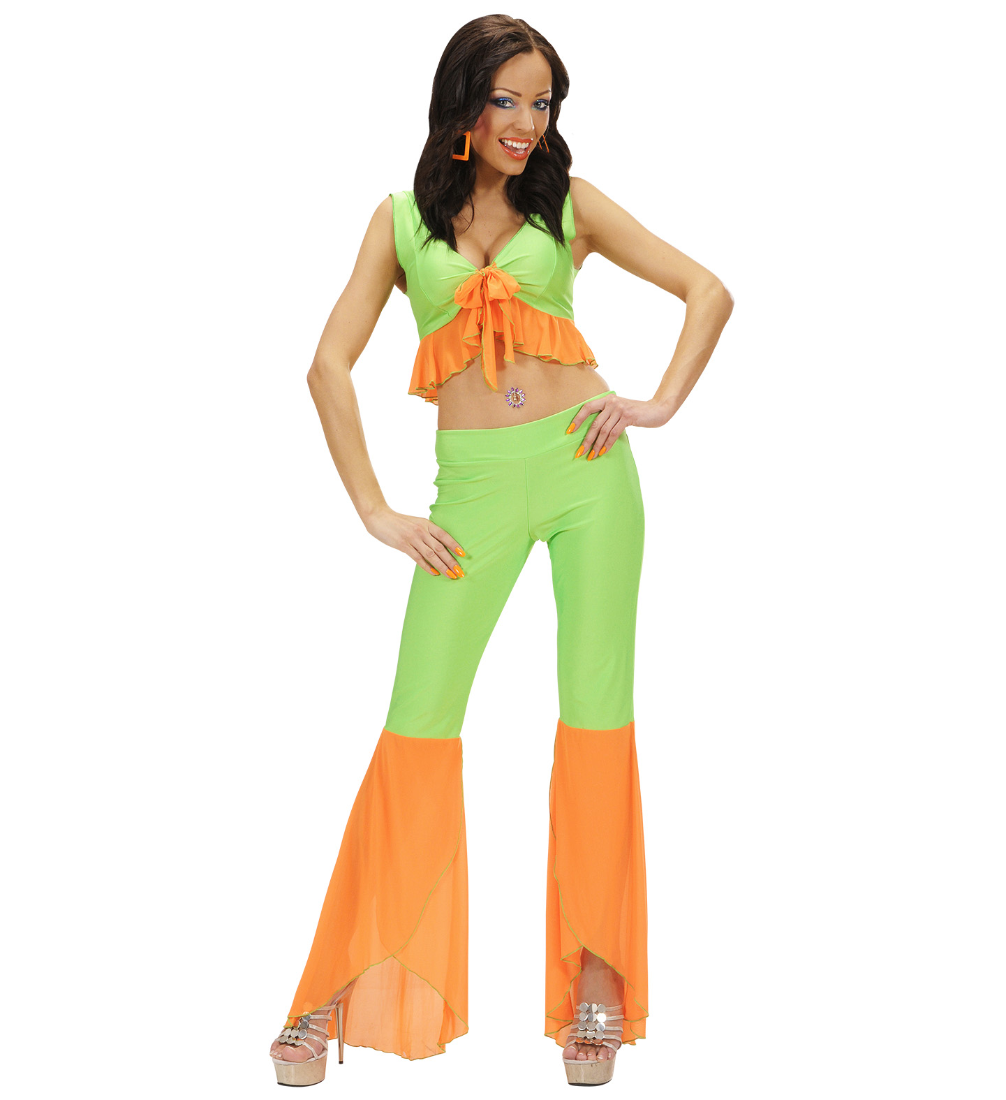 Mens Samba Top & Pants Neon Green & Orange Costume Fancy Dress