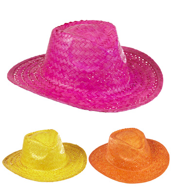 COWBOY HAT STRAW - Pink/Yellow/Orange