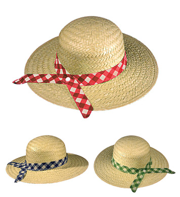 STRAW FARMER DAUGHTER HAT - GREEN RIBBON