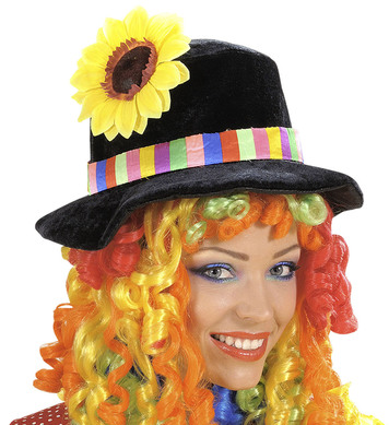 BLACK CLOWN HAT W CURLY HAIR MULTI