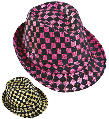 CHEQUERED SEQUINED FEDORA (pink or gold)